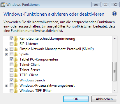 Windows 7 beschleunigen - Windows-Funktionen deaktivieren